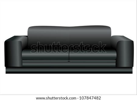 Image of a modern black leather sofa isolated against white background - stock vector