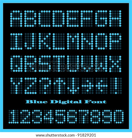 Image of a set of colorful blue alphabetic and numeric characters. - stock vector