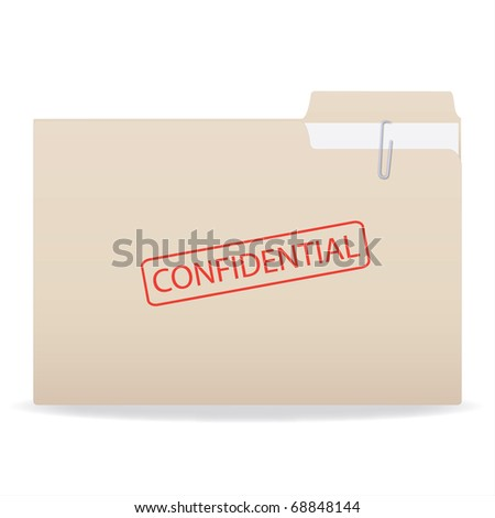 Image of a stamp with a Confidential stamp isolated on a white background.