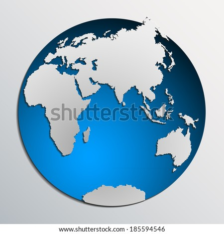 Image of a vector flat world map with a colorful blue background.