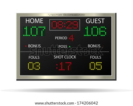 Image of a vector scoreboard isolated on a white background. - stock vector
