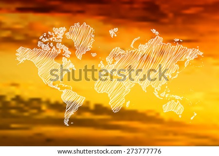 Image of a vector world map on blurred background - stock vector