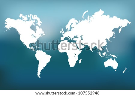 Image of a vector world map with a colorful blue background.