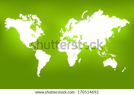 Image of a world map on a colorful green background. - stock vector