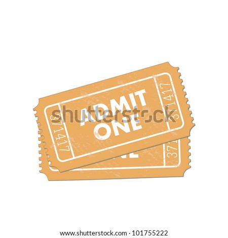 Image of admit one tickets isolated on a white background. - stock vector
