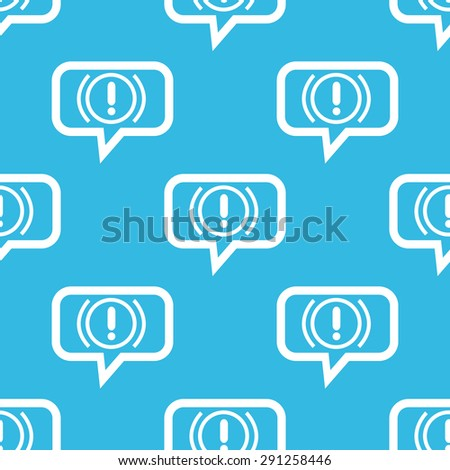Image of alert sign in chat bubble, repeated on blue background - stock vector