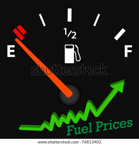 Image of an empty gas gage with rising fuel prices. - stock vector