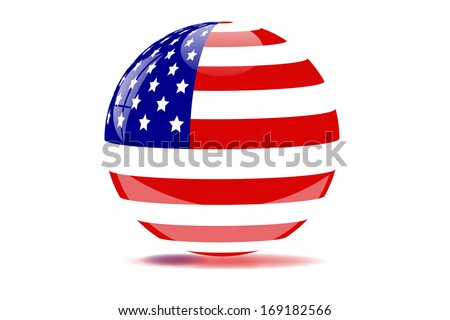 Image of an orb with the flag of the United States of America isolated on a white background.