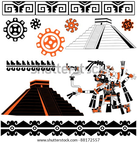 Image of ancient american patterns with ornaments and pyramids - stock vector