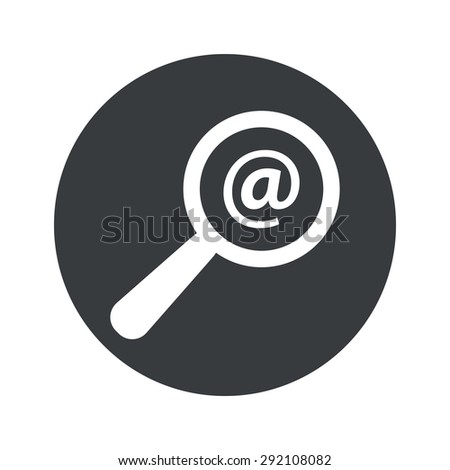 Image of at-sign under loupe in black circle, isolated on white