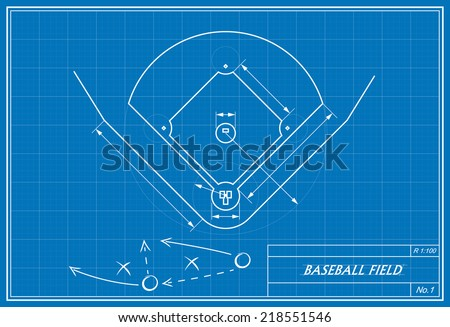 image of baseball field on blueprint. Transparency used.  - stock vector