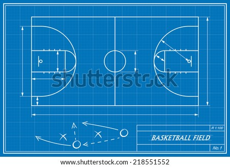 image of basketball court on blueprint. Transparency used.  - stock vector