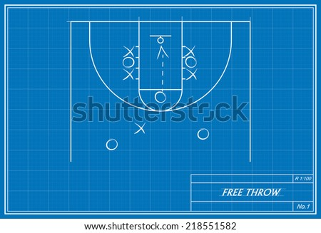 image of basketball free throw on blueprint. Transparency used.  - stock vector