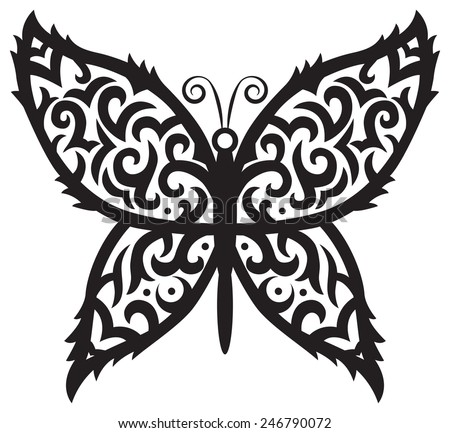 image of beautiful butterfly in tribal style on isolated background