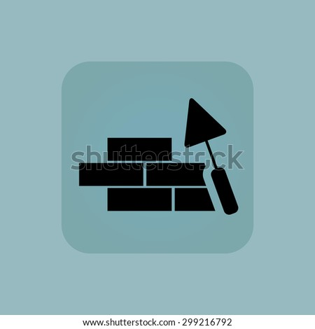 Image of brick wall under construction in square, on pale blue background - stock vector
