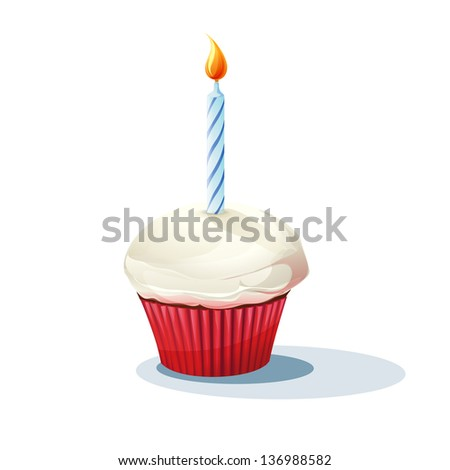 Image of cake with a candle. - stock vector