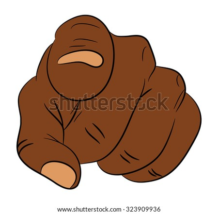 Image of cartoon black man, negro human hand gesture pointing at you. Vector illustration isolated on white background. - stock vector