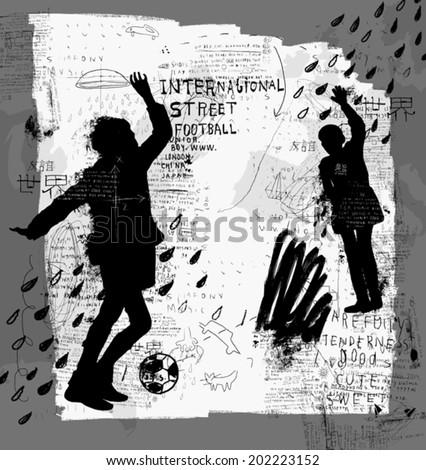 Image of children playing street football  - stock vector