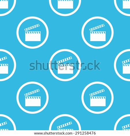 Image of clapperboard in circle, repeated on blue background - stock vector