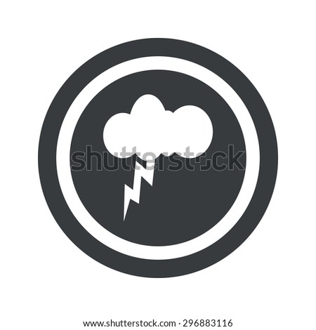 Image of cloud with lightning in circle, on black circle, isolated on white - stock vector