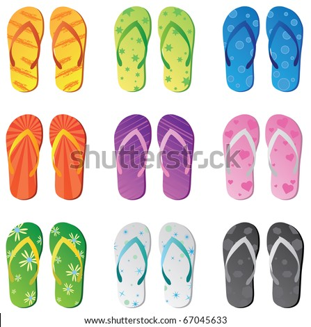 Image of colorful flip flops isolated on a white background. - stock vector