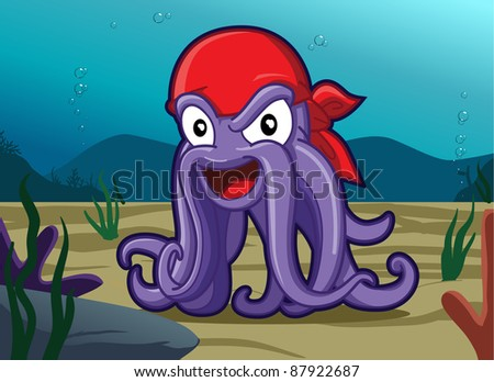 Image of cool octopus pirate under the sea