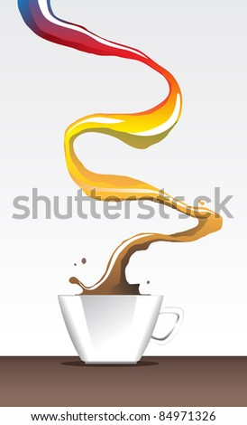 Image of cup of coffee with rainbow color representing variety