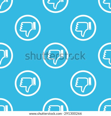 Image of dislike symbol in circle, repeated on blue background - stock vector
