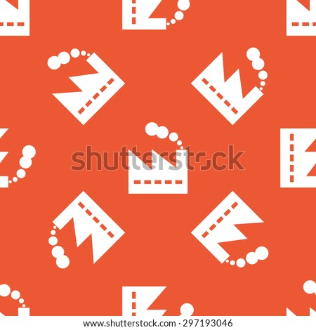 Image of factory building, repeated on orange background
