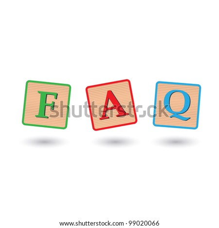 Image of FAQ blocks isolated on a white background. - stock vector