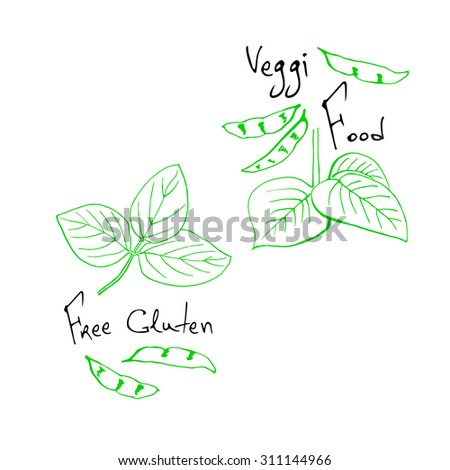 Image of hand sketched typographic elements on white background. Restaurant labels. Suitable for ads, signboards, menu and web banner designs