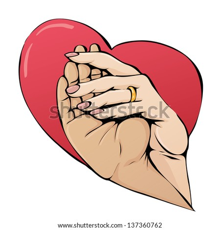 Image of hands in a heart on isolated background