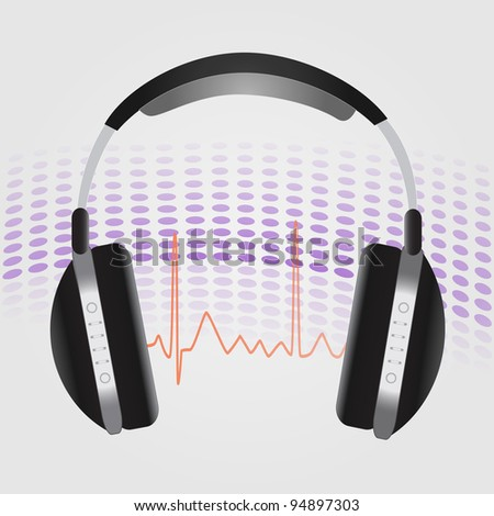 Image of headphones against an abstract background. - stock vector