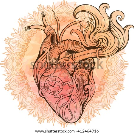 Image of heart in steampunk style. Watercolor background with flowers. - stock vector