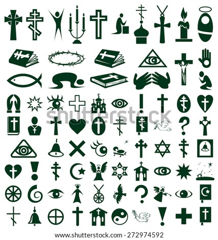 Image of  icons on white background on the topic Religion - stock vector