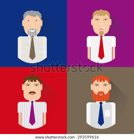 Image of men in office attire. Men of different ages, in different clothes. Performed into a flat style. - stock vector