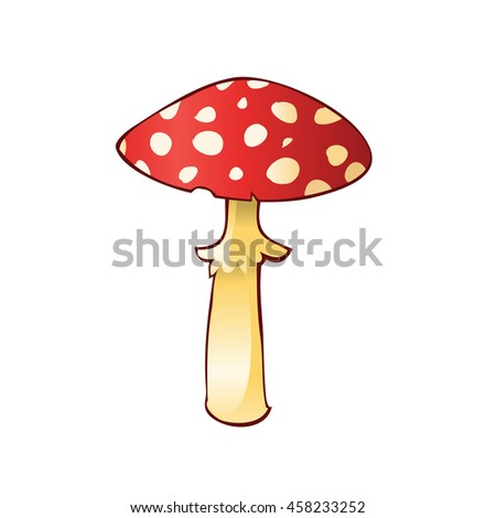 Image of mushroom amanita isolated on white background. Art vector illustration. - stock vector