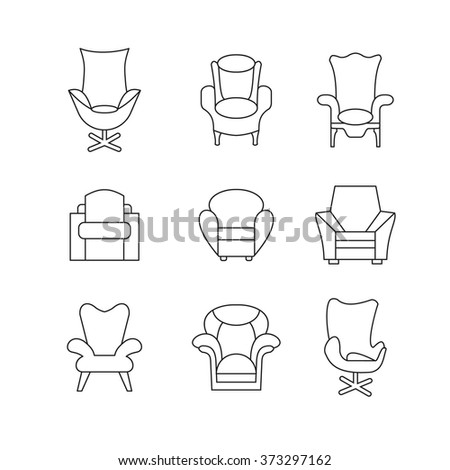 Furniture Icons Image Of Outline Armchair Sofa Set Living Room Interior Design With Illustration