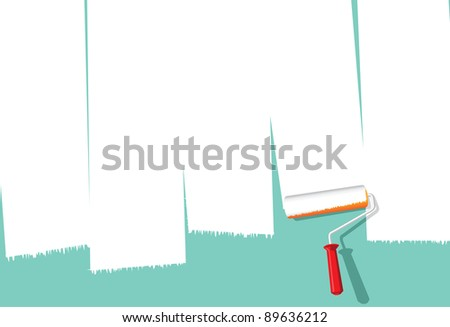 Image of paint roller painting over wall to make space for copy - stock vector