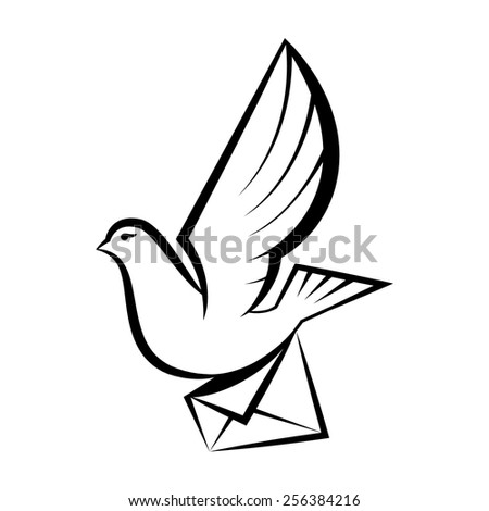image of pigeon carrying letter.