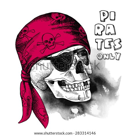 Image of pirate skull in a bandana. Vector illustration. - stock vector