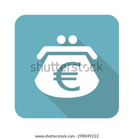 Image of purse with euro symbol in blue square, isolated on white - stock vector