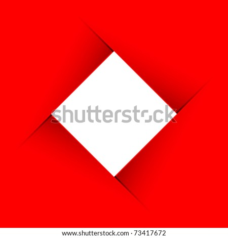 image of red minimalistic banner with rhomb inside - stock vector