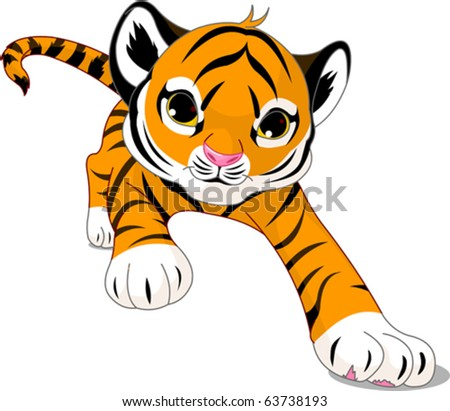 Image of running cute baby tiger - stock vector
