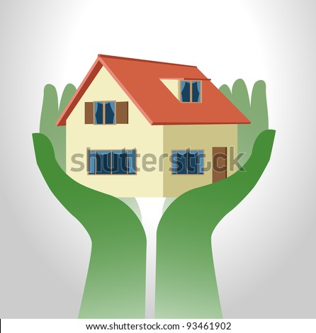 Image of symbolic hand holding up a house - stock vector