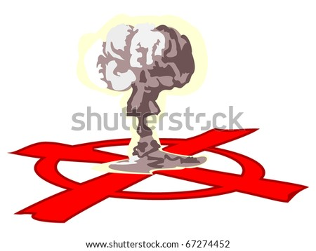 image of the atomic explosion and red target - stock vector