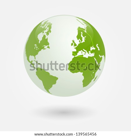 Image of the earth isolated on a white background. - stock vector