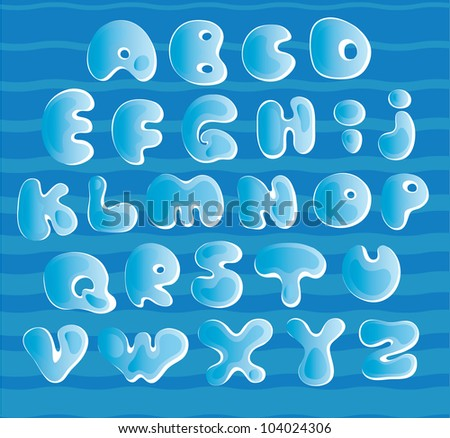 Image of the letters in the form of ice on a blue background with waves / Ice alphabet