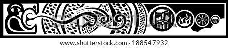 Image of the Viking Pagan Midgard serpent with images of Odin and Norse designs. - stock vector