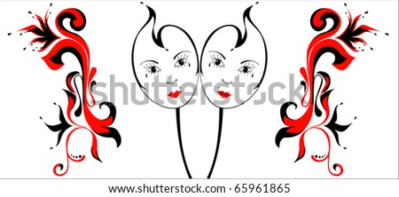 Image of two masks for a masquerade on a white. - stock vector